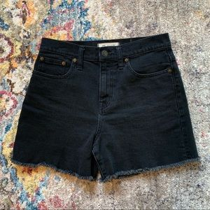 Madewell High-Waisted Black Denim Shorts